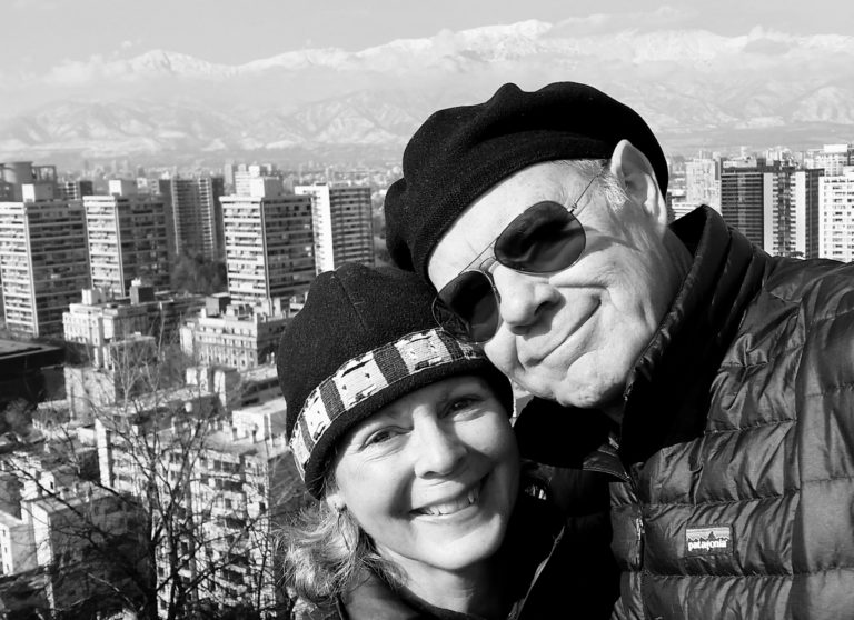 Two people at overlook, Santiago Chile