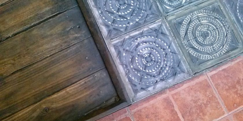 wood glass block and tile