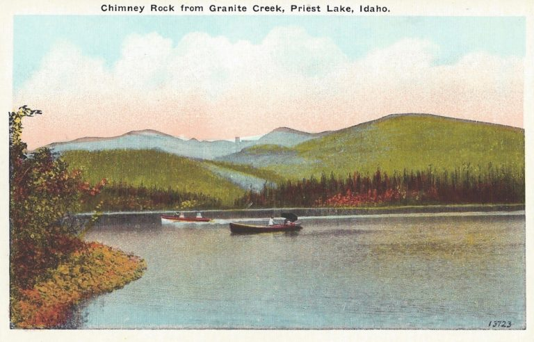 Classic road trip Vintage hand tinted color postcard of Priest Lake Idaho and Chimney Rock.