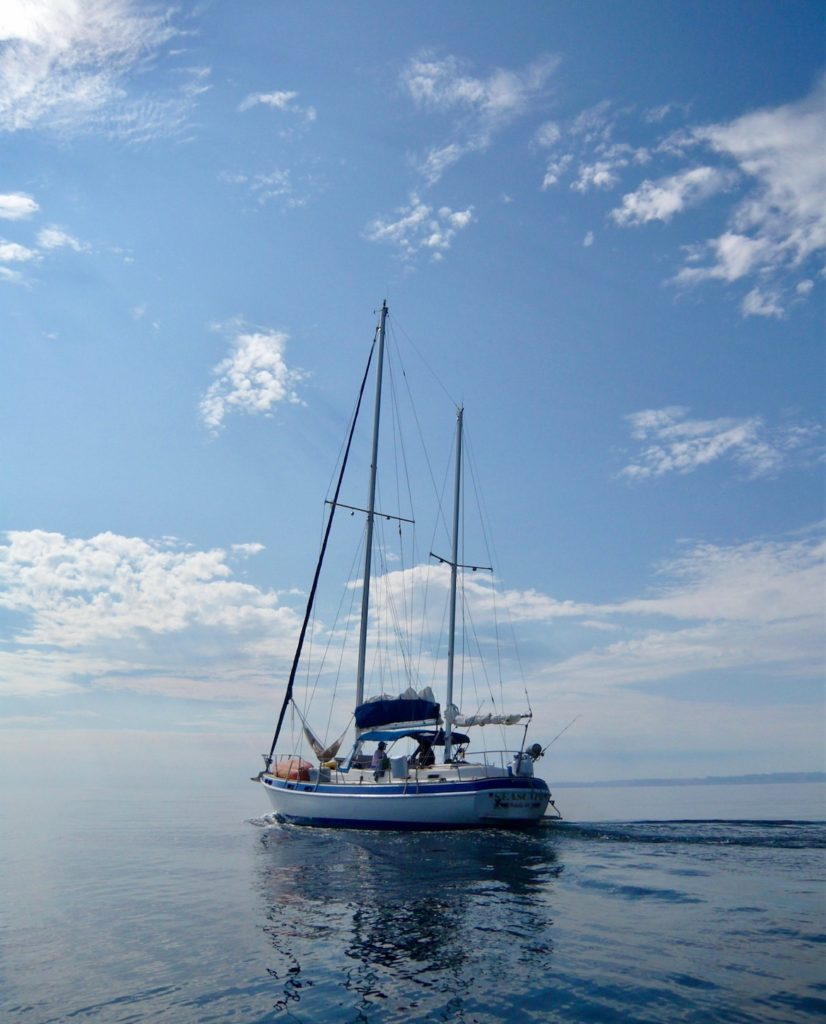 Travel health on the sea of cortez in a sailboat with no wind.