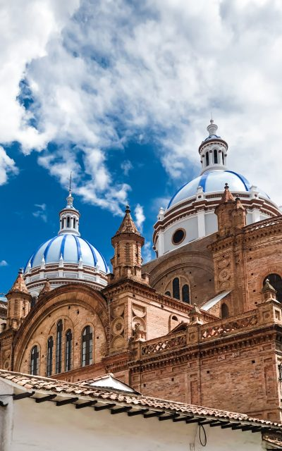 Cuenca Cathedral Domes with Blue Sky